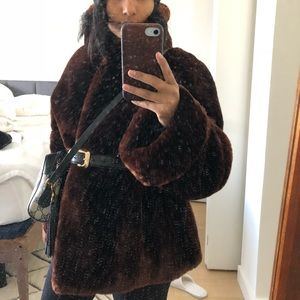 Shearling fur teddy coat, newly lined.